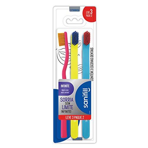 Escova de Dente Sanifill Infinite Leve 3 Pague 2 - Cerdas Extramacias – Cores Sortidas, Sanifill