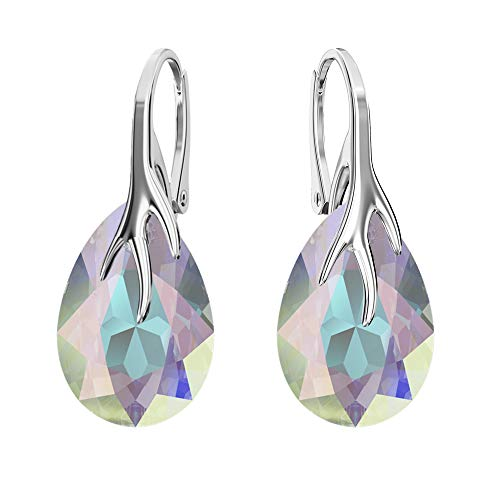 925 Sterling Silver Earrings with Swarovski Crystals - Claw Pear - Many Colours - Earrings for Women - Beautiful Jewellery for Women with Gift Box Crystal AB