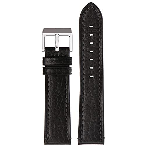 Correa de reloj de piel auténtica | Stailer Premium Aviator Collection | piel italiana curtida vegetalmente | Tamaño 24 mm 22 mm 20 mm, Negro , 22mm,