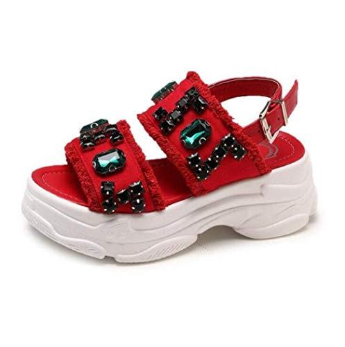 GenericBrands Sandalias De Plataforma De Cuña para Mujer Sandalias De Gladiador con Correa De Hebilla Cómoda Zapatos De Vestir con Punta Abierta Y Sin Cordones Adecuado para Damas Cómodo E Informal