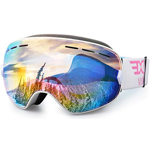 EXP VISION Ski Snowboard Goggles for Man Woman and Younth, OTG Snow Goggle Anti Fog UV400 Protection Winter Outdoor Sports Goggle-Pink