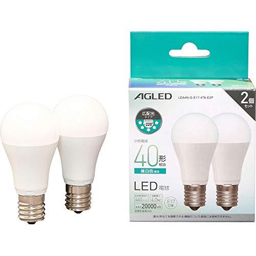 アイリスオーヤマ LED電球 E17 広配光 40形相当 昼白色 2個セット LDA4N-G-E17-4T6-E2P