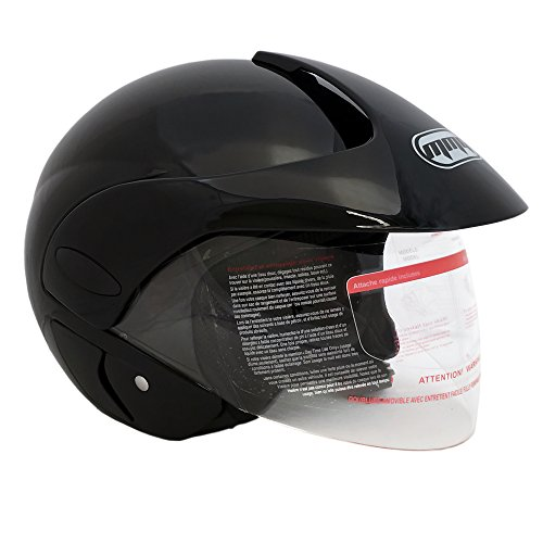 MMG 203 Motorcycle Open Face Helmet DOT Street Legal - Flip Up Clear Visor - Glossy Black, Small