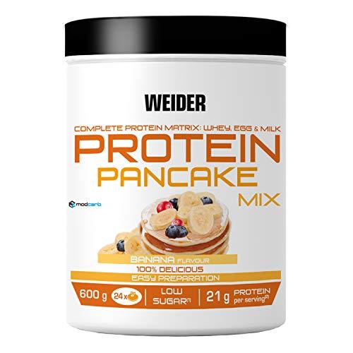 Weider Protein Pancake Mix. Tortitas de harina de avena integral, enriquecidas con proteinas. Sabor Banana - 600 gr
