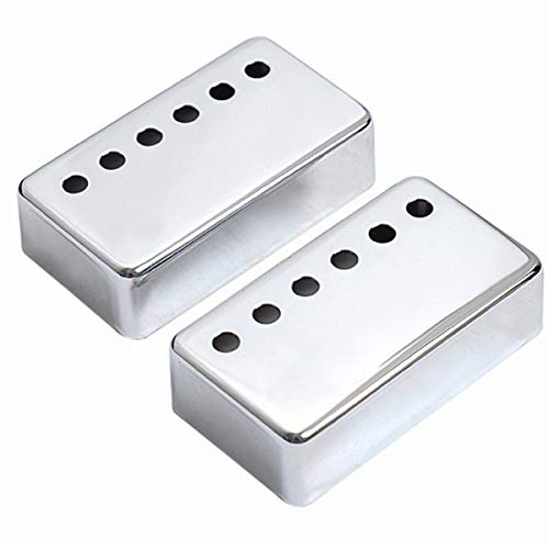 Musiclily 50mm Metal Humbucker Guitar Neck Pickup Covers for Electric Guitar, Chrome (Pack of 2)