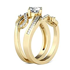 Jeulia Women 1.5 ct 14K Gold Plated Wedding Ring Set 925 Sterling Silver Gone Tone Engagement Rings Round Cut Cubic Zirconia Twist Band Ring Anniversary Promise For Her Teen Girls (Gold, S-½) #1