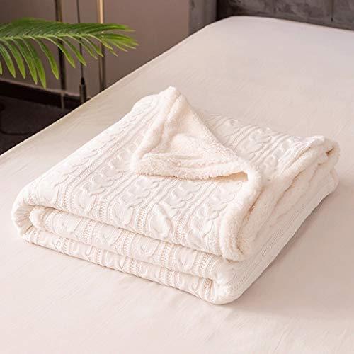 WWWEE 120x180 cm Thermal Dicke gestrickte Winterdecke Kinder Kaschmir Bettwäsche Quilt grau weiß Kabel gestricktes Sofa Wurfbett Spread (Color : White)
