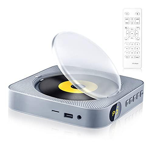 CDプレーヤー 置き&壁掛け式 1台多役 USB対応 ポータブルCDプレーヤー LEDディスプレイ FMラジオ/CD/USB/SD/AUXモード タイマー設定 リモコン スタンド付き 防塵カバー 音楽再生/語学学習/胎児教育 CDラジオ 日本語説明書