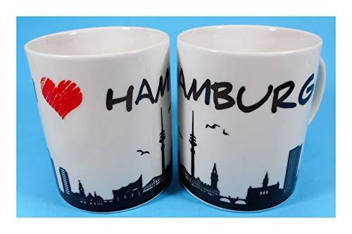 1 I love Hamburg Tasse 9,5 x 8 cm Urlaub Souvenir Kaffee Becher Deko 16266