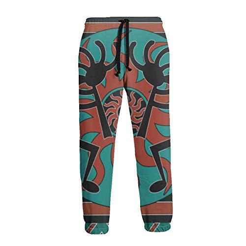 Téal Southwest Kokopelli nativi americani indiani sport jogging pantaloni casual tuta per uomo bianco 3XL