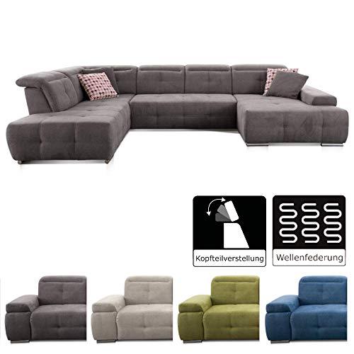 CAVADORE Wohnlandschaft Mistrel mit Longchair rechts und Ottomane links / Großes Sofa in U-Form / Inkl. Kopfteilfunktion / 343 x 77-93 x 228 / Kati Fango