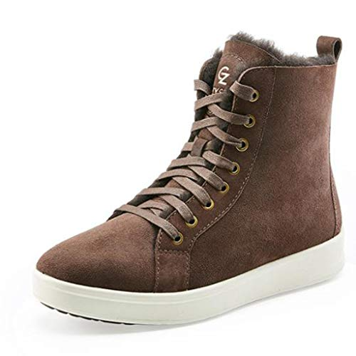 Hiking & Trekking Outdoor Sports Shoes High-top Women's Boots Flat Bottom Boots Sheepskin one Snow Boots Casual Shoes Suitable All Clothes Mountaineering Boots (Color : Brown, Size : 38)