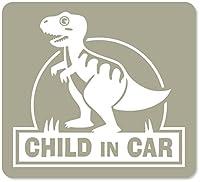 imoninn CHILD in car ステッカー 【マグネットタイプ】 No.71 ティラノサウルスさん (グレー色)