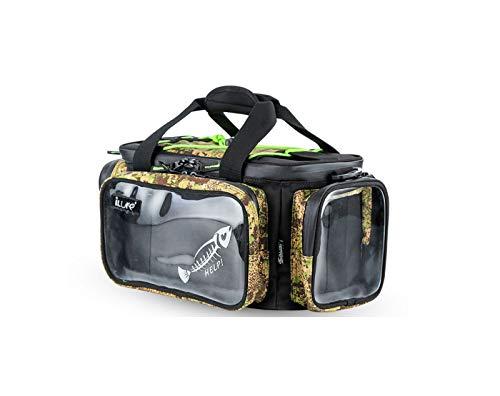 iLure Bolsa de almacenamiento para aparejos de pesca, mochila de hombro al aire libre y bandolera para estanque, tolva, senderismo, caza, camping