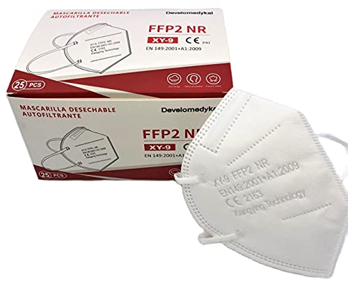 DEVELOMEDYKAL 25 Mascarillas FFP2 Homologada CE, Mascara Blanca Adulto, Protector Facial desechable