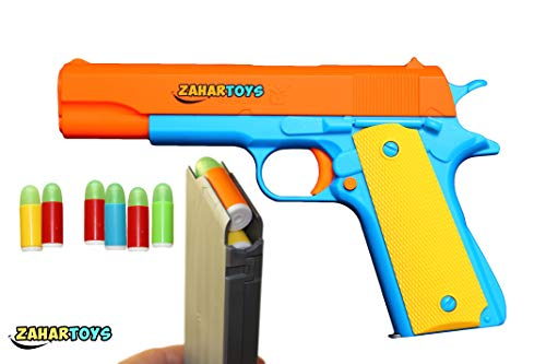 ZAHAR Toys Colt 1911 Kids Play Toy Gun with Ejecting Magazine and Foam Bullets. Slide Action Orange Barrel for Training or Play