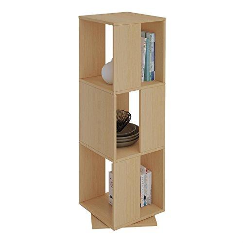 CARO-Möbel Drehregal KOPENHAGEN Bücherregal Standregal Dekoregal mit 3 Fächern in buchefarben