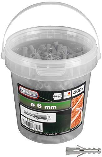 Connex Dübel Ø 6 mm - 450 Stück in praktischem Kunststoff-Eimer - Polypropylen - Für einfache Befestigungsarbeiten in Vollstein & Beton / Dübel-Set im Eimer / Universaldübel / B30026