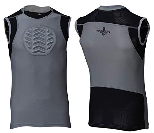 Exxact Sports Baseball Chest Shield Protector, Heart-Guard, Sternum Protection, for Youth Lacrosse, Football, Soccer Goalies (Gray, Youth X-Small)