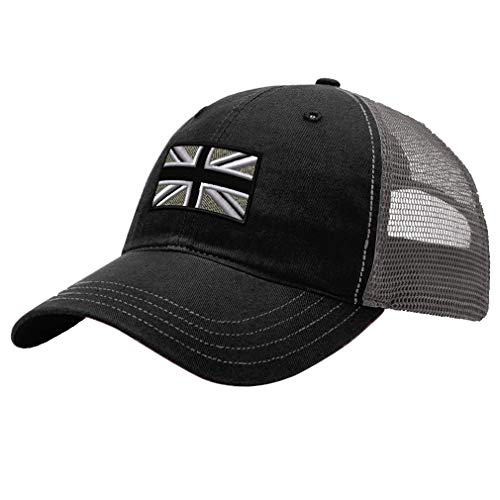 Trucker Hat Richardson British Flag Black White Embroidery City Cotton Soft Mesh Cap Snaps - Black/Charcoal, Design Only