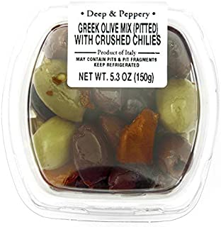 Fresh Pack Mixed Greek Olives W/Crushed Chiles (Pitted), 5.3 oz