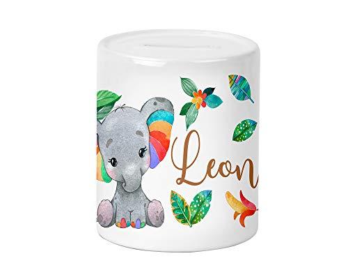 Regenbogen Elefant Kinder-Spardose für Jungen und Mädchen mit Namen personalisiert zur Einschulung Taufe Geburtstag Geburt Sparschwein Geldgeschenk