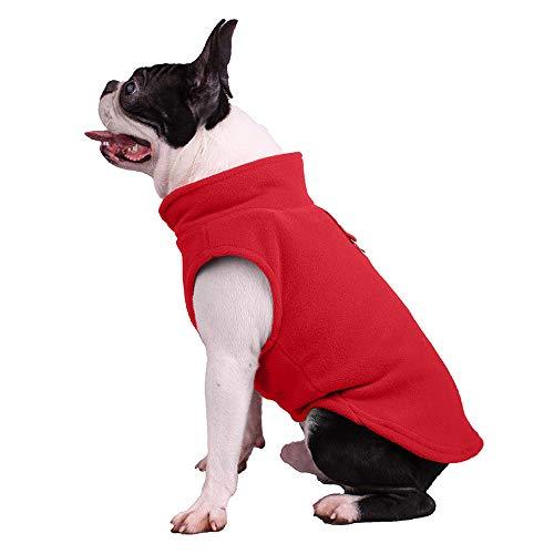 Sudadera para perros de forro polar suave, chaqueta para clima frío con anillo de correa para perros pequeños y medianos (XL, rojo)