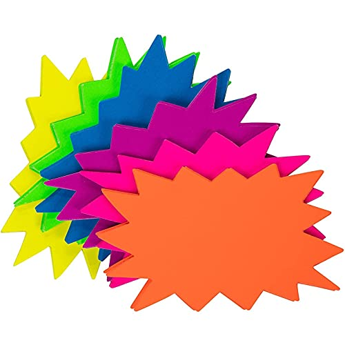 60 Pack Neon Paper Starburst Sale Signs for Retail Store, Classroom Name Tags (6 Colors, 3 x 5 In)