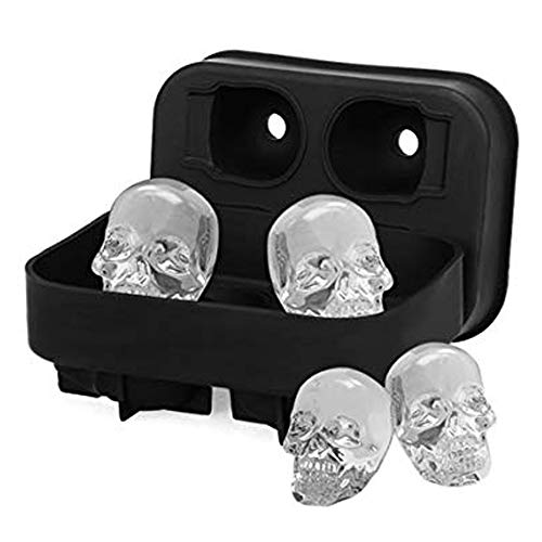 Generise 3D Silicone Skull Shape Ice Cube Trays Mold Mould Cocktails Whisky Halloween