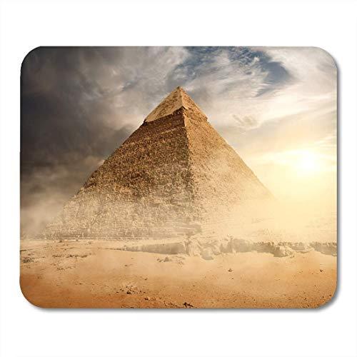 N\A Alfombrilla de ratón Egipto pirámide en Polvo de Arena bajo Nubes Grises Alfombrilla de ratón egipcia para portátiles, Computadoras de Escritorio Alfombrillas de ratón, Suministros de Oficina