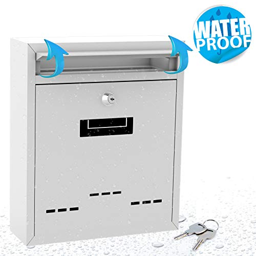 Modern Wall Mount Lockable Mailbox - Outdoor Galvanized Metal Key Large Capacity - Commercial Rural Home Decorative & Office Business Parcel Box Packages Drop Slot Secure Lock- Serenelife SLMAB04