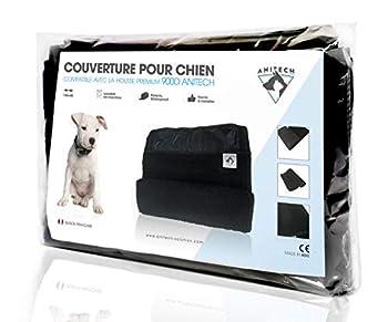 ANITECH Couverture pour Chien et Chiot - Polaire Douce et Chaude - Imperméable - Lavable en Machine (135x45) / Noir
