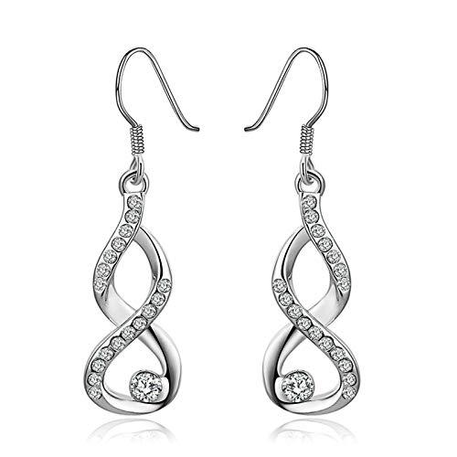 Daesar Women Earrings Silver, White Gold Plated Earrings For Women Infinity Cubic Zirconia Earring Silver