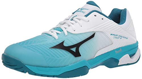Mizuno Men's Wave Exceed Tour 3 All Court White-Peacock Blue 13 M US
