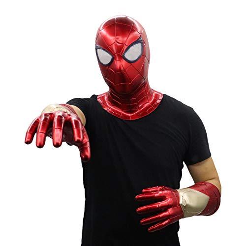 FUGUI 2019 Spider-Maske mit Infrarot-Sensor, beleuchtete rote Kapuze, Helm mit Laser und rotem Netz, Spiderman-Handschuhe Laser Gloves