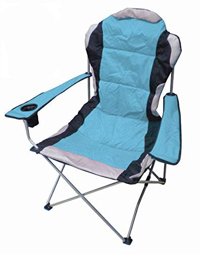 Spetebo Regiestuhl Deluxe bis 150 Kg belastbar - Farbe: blau - Campingstuhl extra breit, extra bequem, extra stabil - Angelstuhl Campingstuhl