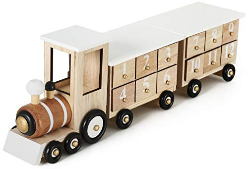 BRUBAKER Reusable Wooden Advent Calendar to Fill - White Locomotive with 24 Doors - DIY Christmas Calendar 18.11 x 3.74 x 4.21 inches