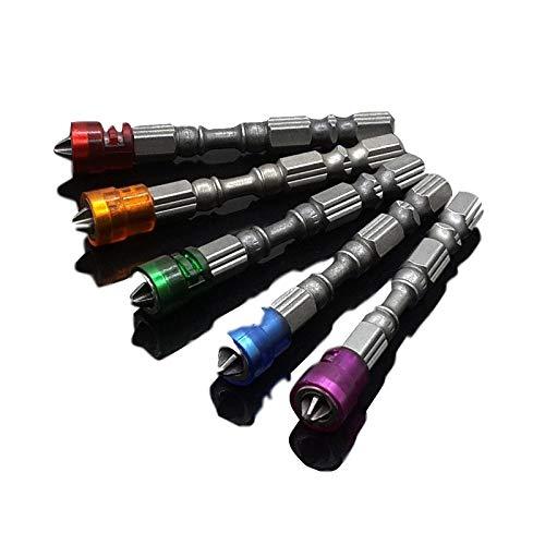 QAPKM Schroevendraaier 5 stks Set 65 mm Magnetische Boor Schroevendraaier Bits S2 Steel Cross Head Group Schroevendraaier Schroevendraaier Kit Handgereedschap Meerkleurig