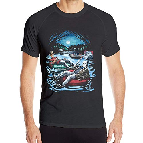 fenglinghua Herren Kurzarm T-Shirts Mens Freddy Krueger&Jason On Pool Floaties Quick Dry Short Sleeve Athletic Shirts