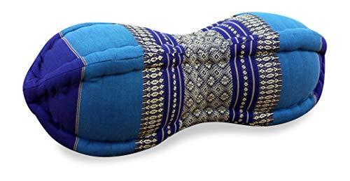 livasia Papaya Nackenkissen der Marke Asia Wohnstudio, asiatisches Nackenstützkissen, kleine Nackenrolle mit Kapokfüllung (blau)