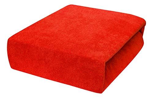 Drap housse avec élastique éponge 80x160, 80x180, 80x200 - 23 Farben 80x180, rouge