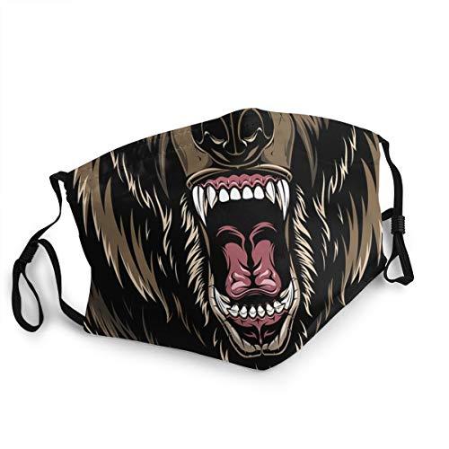 EU Face Cover Head A Féroce Grizzly Bear Masques Couverture Bouclier Anti-Poussière Soleil Protection Vent Résistant Bandana Lavable Réutilisable Cagoule Homme Femme Cyclisme Sports de Plein Air Noir