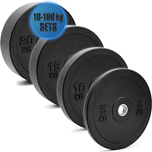 C.P. Sports - Juego de discos de pesas de goma maciza, orificio de 50 mm con anillo interior redondeado, placas de parachoques de alta calidad y duraderas, juegos de bumper plates de 10 a 100 kg ✅