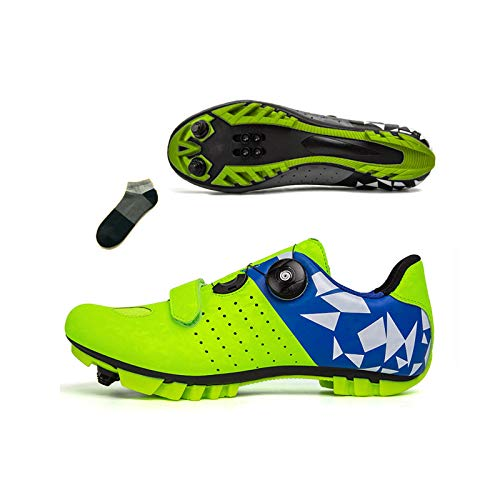 Bicicleta De Montaña para Hombre Zapatos De Ciclismo para Mujer Zapatos De Equitación Interior Y Al Aire Libre Fitness Sneaker Antideslizante Transpirable(Size:45-285mm,Color:Verde)