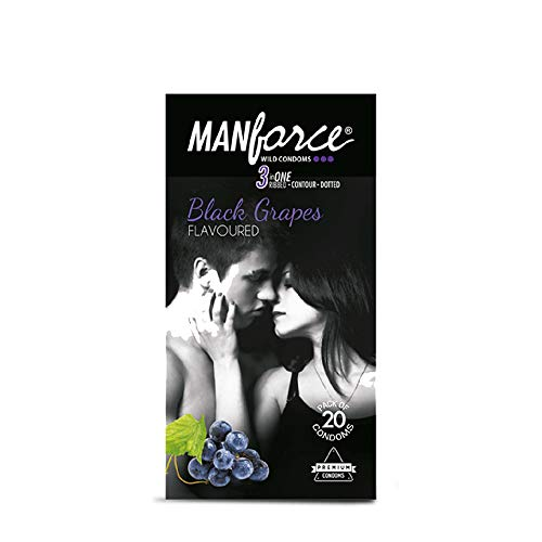 Manforce Black Grapes Dotted Condoms – 20 Pieces