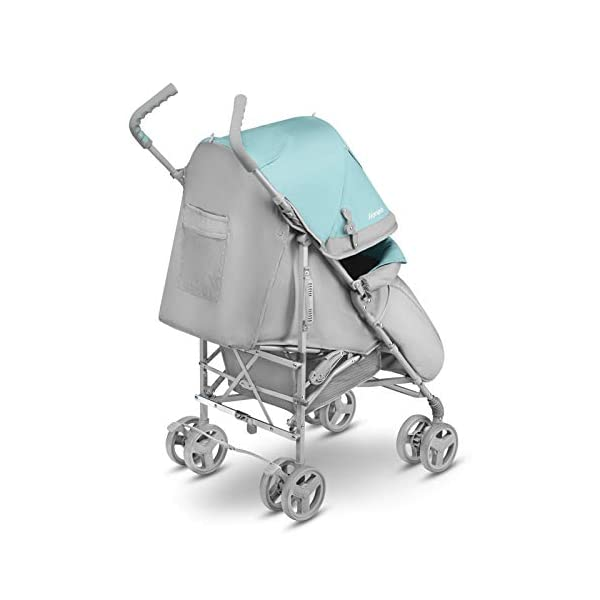 Lionelo Elia Buggy Small Folding Pushchair Buggy up to 15 kg Back and Footrest Adjustment Rear Wheel Brake Mosquito Net Leg Warmer Rain Cover Shopping Basket Lionelo Safe and handy. The Elia pushchair has a simple folding system. Does not need much space after folding. Folding the buggy takes only a few seconds, with a carry handle and the weight of only 7 kg, ideal for travel, on the train or in the car boot. Features: Complete set with mosquito net, leg warmer and rain cover, spacious storage basket, back and footrest adjustment, handle height at 105 cm. Swivel lock and rear brake. On the rear axle there is a comfortable and quick to use brake that is operated with one foot. The front wheel has a swivel lock that helpfully holds a steady course on uneven terrain. 2