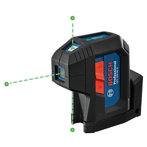 Bosch GPL100-30G 125ft Green 3-Point Self-Leveling Laser with VisiMax...
