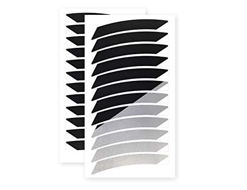 reflexsticker für Fahrradfelgen   12 bis 24 Zoll Felgen   schwarz oder weiß   24 Streifen im Set   weiß reflektierend   Reflektoren-Aufkleber fürs Fahrrad, Kinder Laufrad, Anhänger (20ʺ, schwarz)