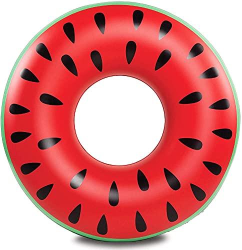 JIAHG Flotadores para adultos, donut flotador, 100 cm, hinchables, sandía, rojo, flotador, flotador, colchón de aire, juguete para piscina o playa