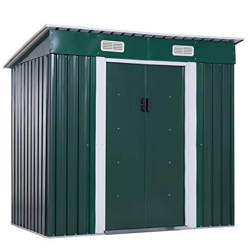 Outsunny 6ft x 4ft Pent Roofed Metal Garden Shed House Hut Gardening Tool Storage w/Ventilation 195 x 122 x 180 cm